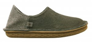 Po-Zu 'Peasy' Black Barkcloth Shoe/Slipper (Vegetarian: Ladies - Black)